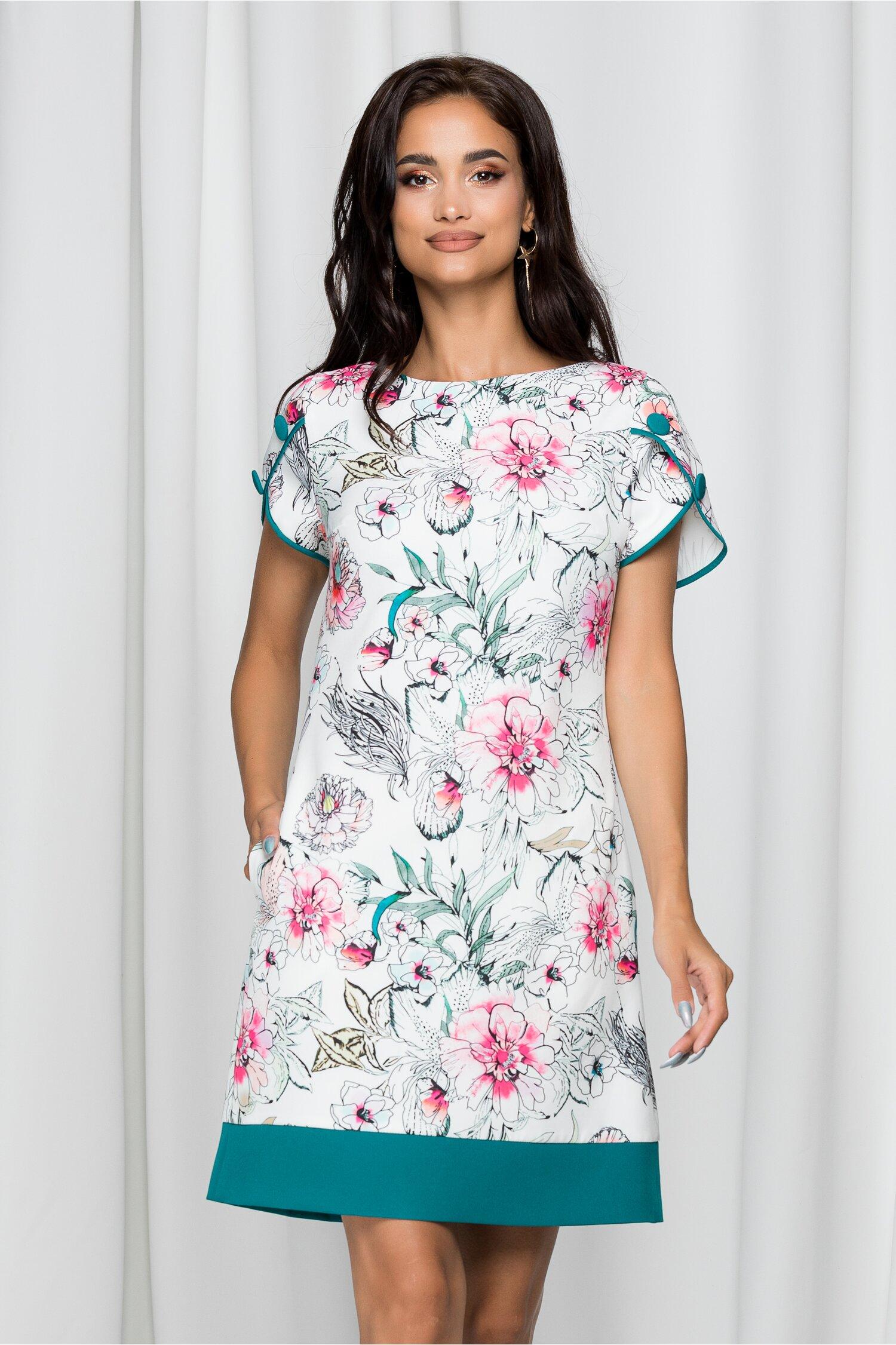Rochie MBG alba cu imprimeu floral roz si baza turcoaz