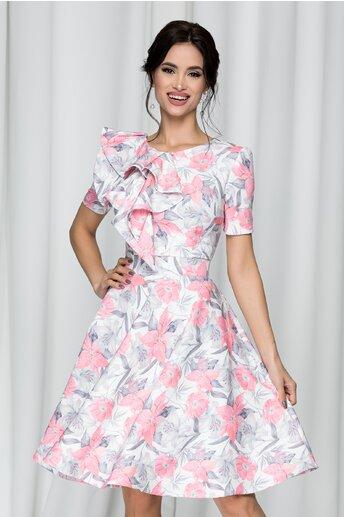 Rochie MBG alba cu imprimeu floral roz si volan pe bust
