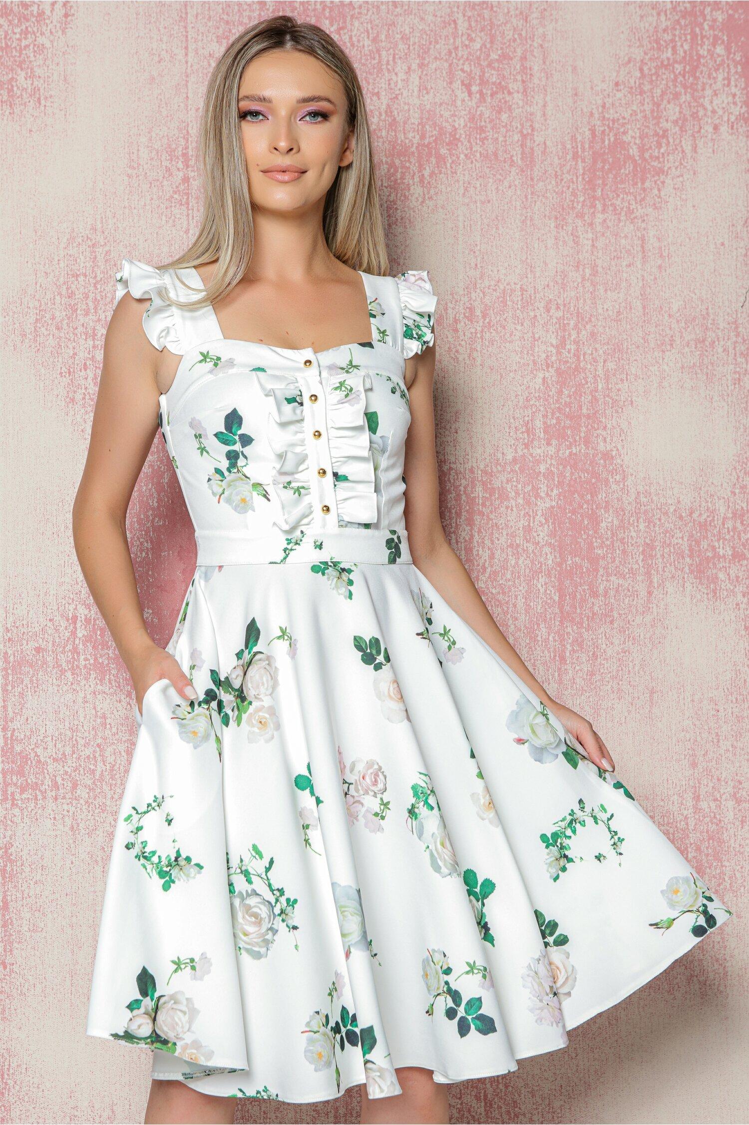 Rochie MBG alba cu imprimeu floral verde si volanas la bust cu nasturi