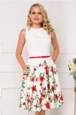 Rochie MBG alba cu imprimeuri florale rosii
