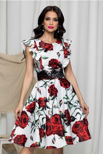 Rochie MBG alba cu trandafiri rosii si dantela in talie