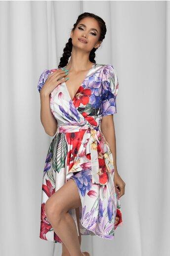 Rochie MBG alba petrecuta cu imprimeu floral