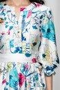 Rochie MBG alba satinata cu imprimeu floral