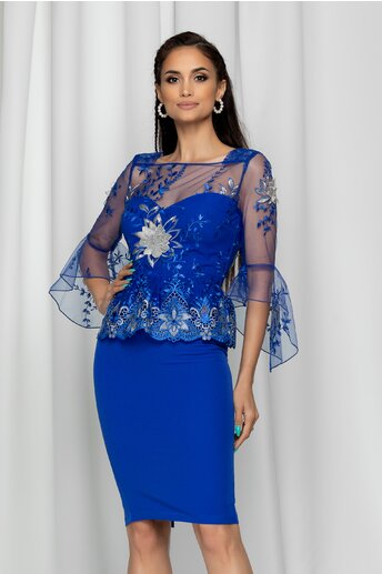 Rochie MBG albastra eleganta cu broderie florala si tull