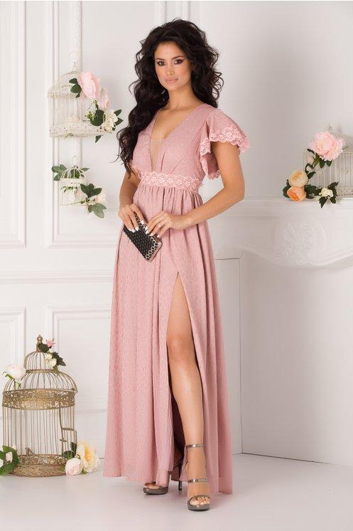 Rochie MBG Amedeea lunga roz prafuit cu aplicatii din dantela