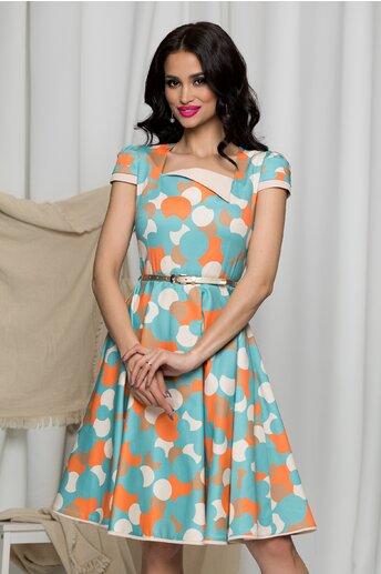 Rochie MBG bleu cu buline orange si curea in talie