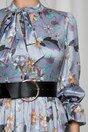 Rochie MBG bleu cu imprimeu floral si curea lata in talie