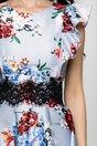 Rochie MBG bleu cu imprimeu floral si dantela in talie