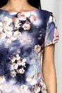 Rochie MBG bleumarin cu banda roz si imprimeu floral