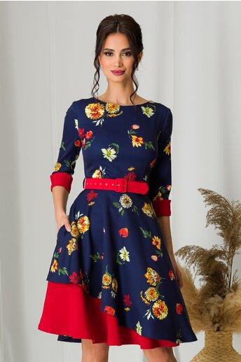 Rochie MBG bleumarin cu flori galbene si detalii rosii