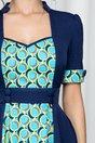 Rochie MBG bleumarin cu imprimeu si talie accesorizata cu nasturi decorativi