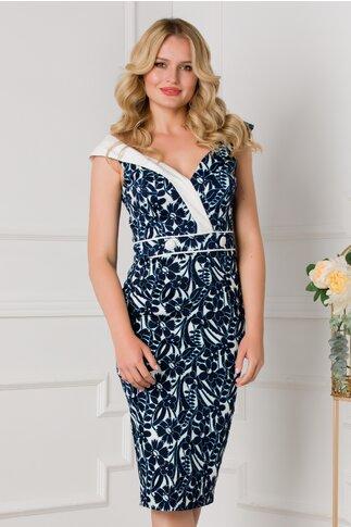 Rochie MBG bleumarin cu imprimeuri florale