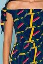 Rochie MBG bleumarin cu imprimeuri geometrice