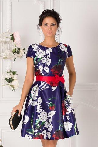Rochie MBG Cassie albastru indigo cu imprimeuri florale
