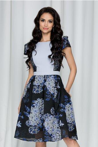 Rochie MBG clos neagra cu bust bleu si imprimeu floral