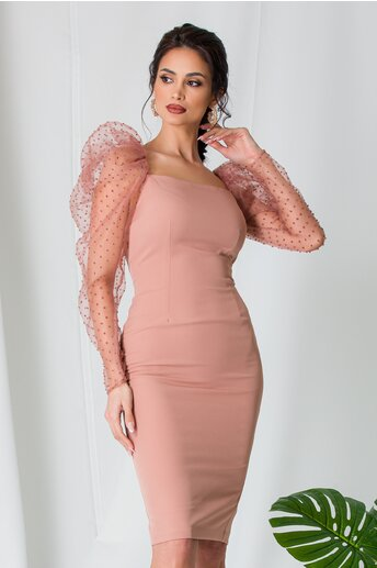 Rochie MBG conica roz cu maneci din tull cu buline