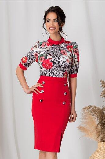 Rochie MBG cu animal print si fusta rosie