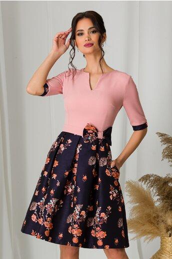 Rochie MBG cu bust roz si fusta cu imprimeuri florale