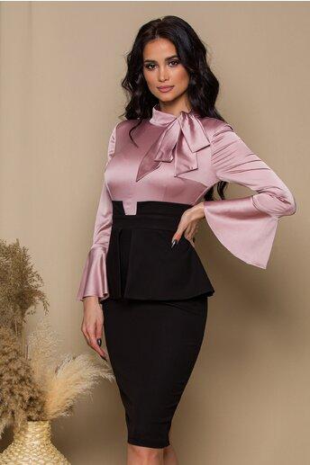 Rochie MBG cu bust roz si peplum in talie