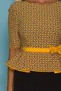 Rochie MBG cu bustul galben imprimat si peplum in talie