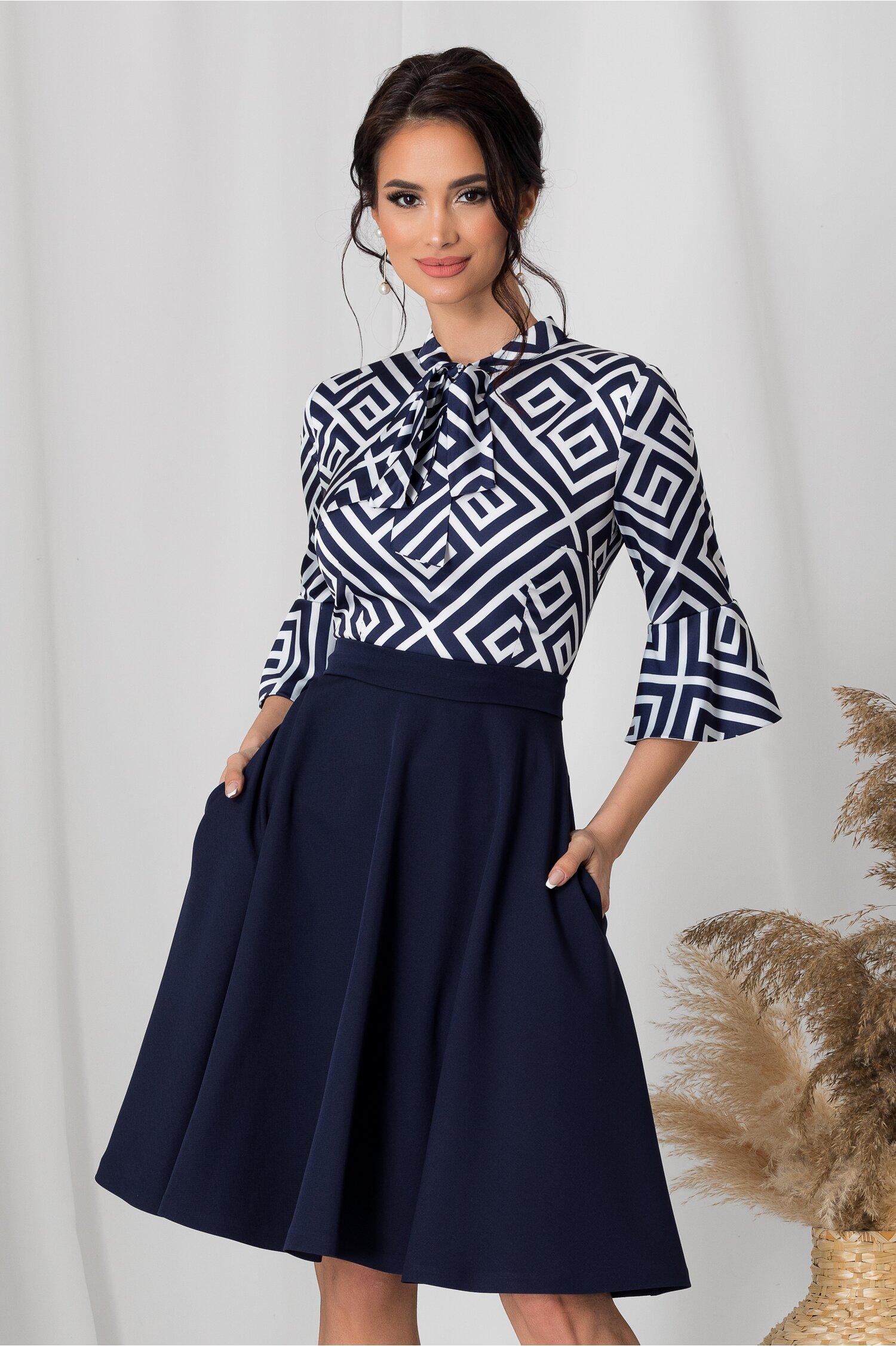 Rochie MBG cu fusta bleumarin si bluza alba cu imprimeu geometric bleumarin imagine dyfashion.ro 2021