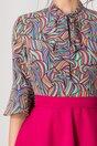 Rochie MBG cu fusta fucsia si bluza cu imprimeu multicolor