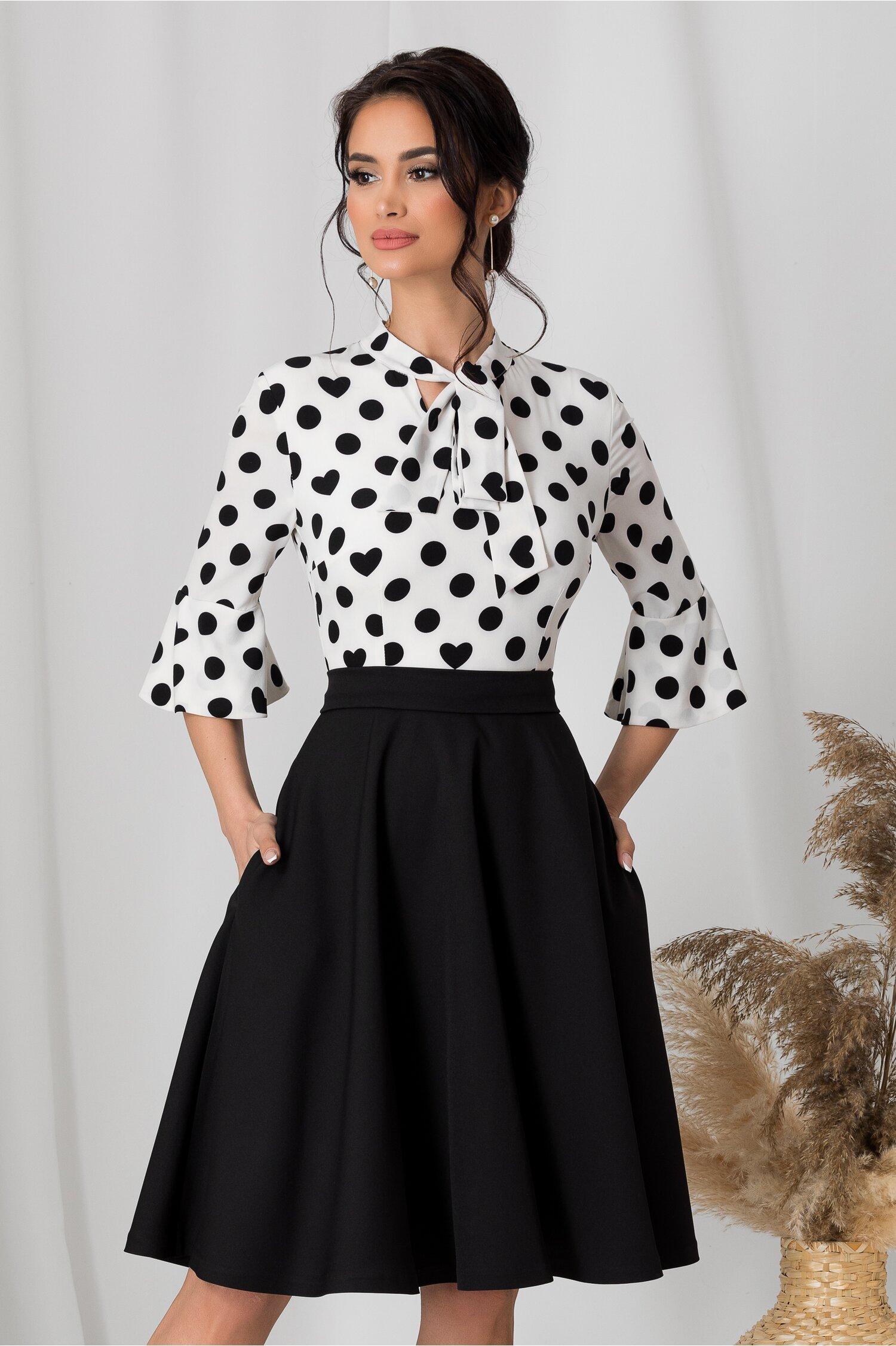 Rochie MBG cu fusta neagra si bluza alba cu buline imagine dyfashion.ro 2021