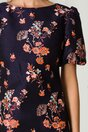 Rochie MBG bleumarin cu imprimeuri florale orange