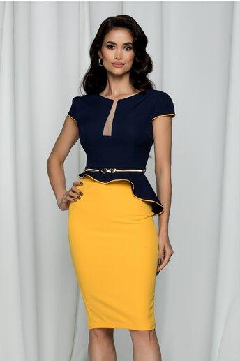 Rochie MBG cu peplum bicolora bleumarin-galben
