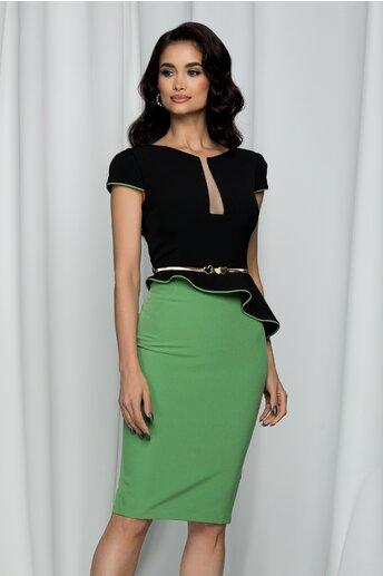 Rochie MBG cu peplum bicolora negru-verde