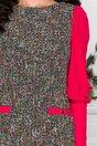 Rochie MBG din tricot multicolor si maneci din voal rosii