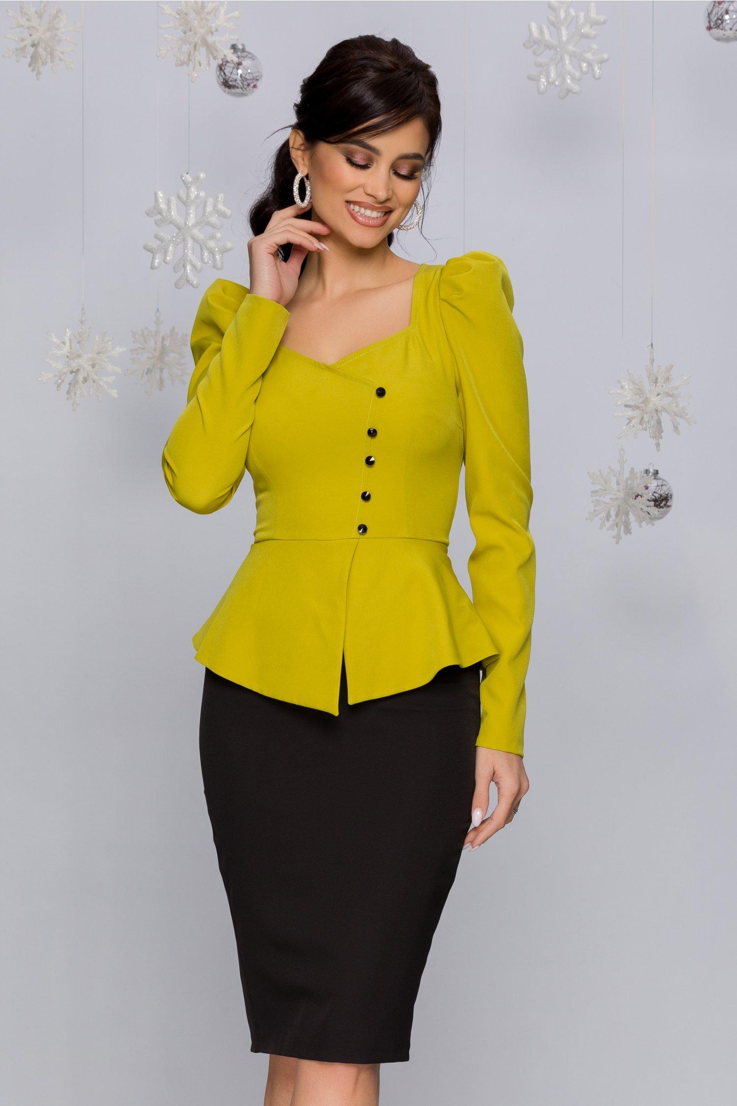 Rochie MBG galben cu negru cu peplum si nasturi
