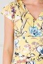 Rochie MBG galbena cu imprimeu floral si decolteu petrecut