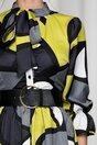 Rochie MBG gri cu imprimeu galben si curea lata in talie