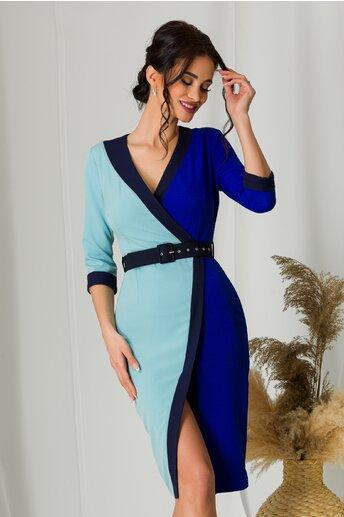 Rochie MBG in nuante de albastru cu bleu