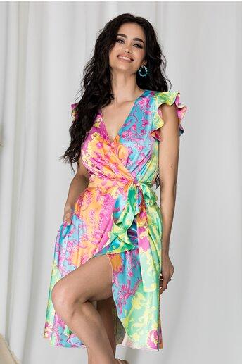 Rochie MBG multicolora cu design petrecut si imprimeu floral