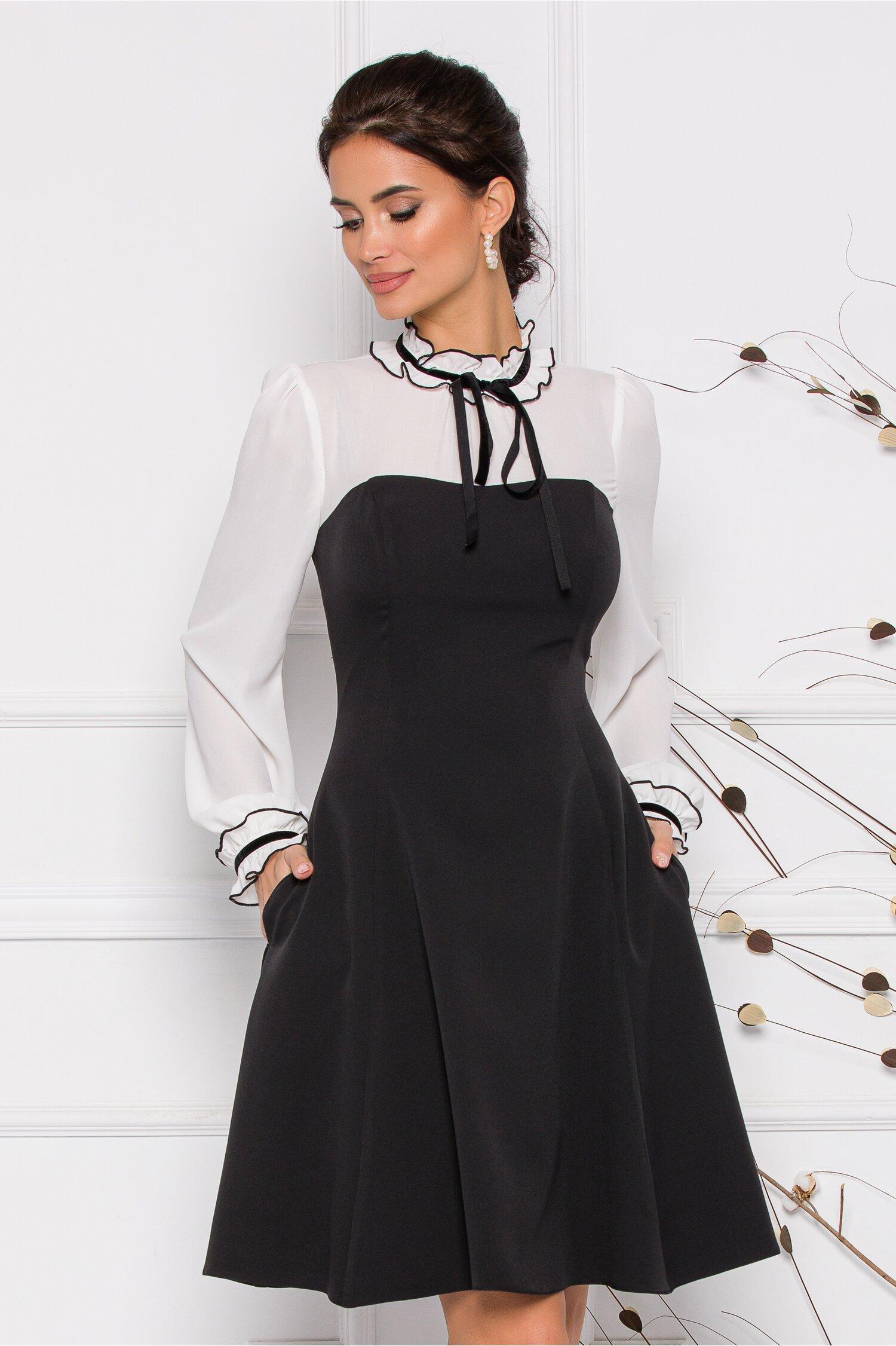 Rochie MBG neagra cu alb si guler cu snur imagine