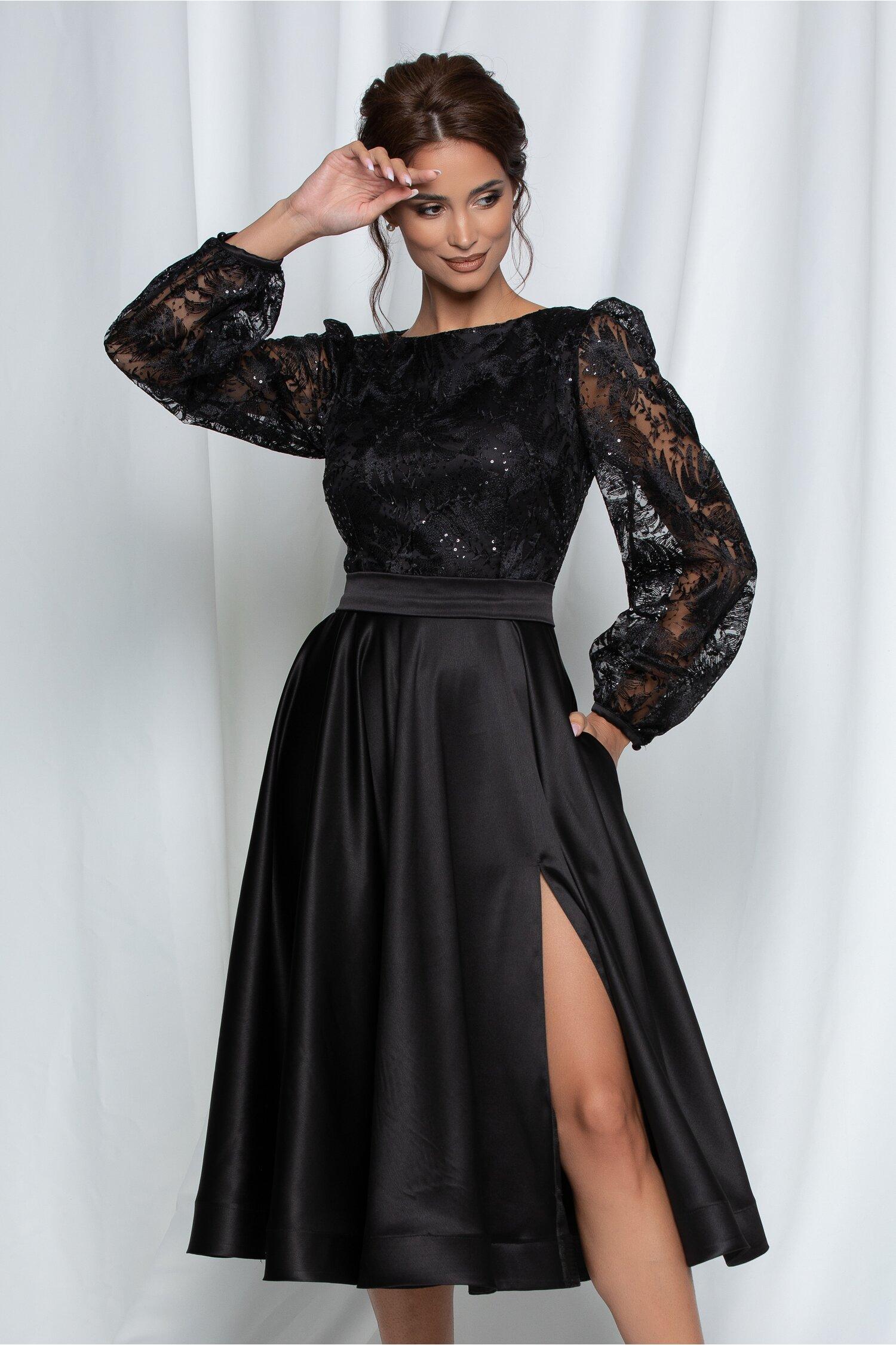 Rochie MBG neagra cu bust din dantela si fusta satinata