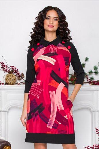 Rochie MBG neagra cu imprimeu divers pe rosu si nasturi decorativi la umeri
