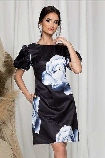 Rochie MBG neagra cu imprimeu floral bleu si alb