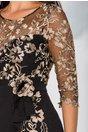 Rochie MBG neagra cu insertii florale aurii