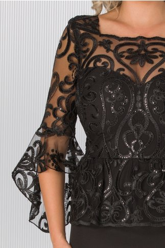 Rochie MBG neagra cu peplum in talie si broderie florala cu paiete in zona bustului