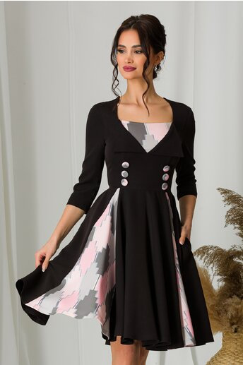 Rochie MBG neagra cu pliuri si nasturi decorativi