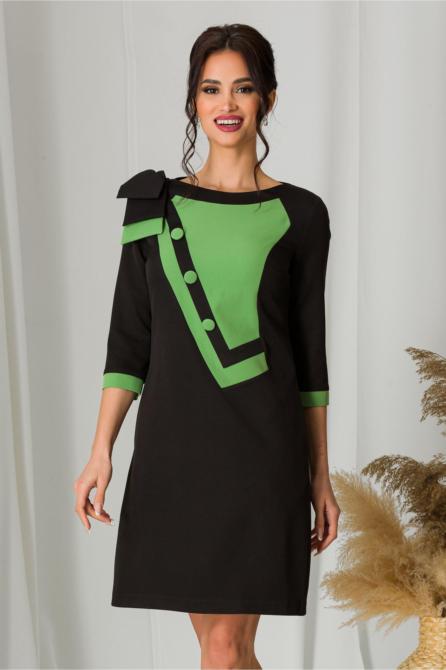 Rochie MBG neagra cu verde si fundita la umar