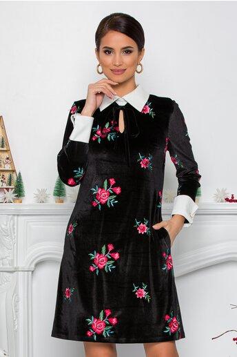 Rochie MBG neagra din catifea cu imprimeu floral si mansete la maneci