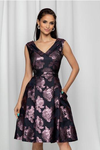 Rochie MBG neagra guler tip colier si flori roz