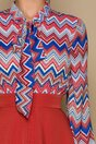 Rochie MBG orange cu imprimeuri in zig-zag la bust