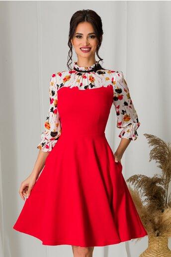 Rochie MBG rosie cu imprimeu floral si maneci din voal