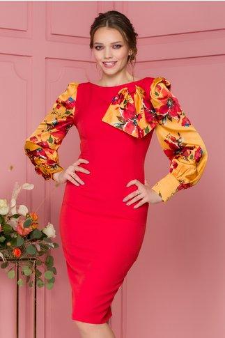 Rochie MBG rosie cu maneci  colorate sidefate si funda maxi la gat