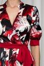 Rochie MBG rosie satinata cu imprimeu floral si cordon in talie